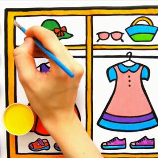 نقاشی كمد لباس دخترانه